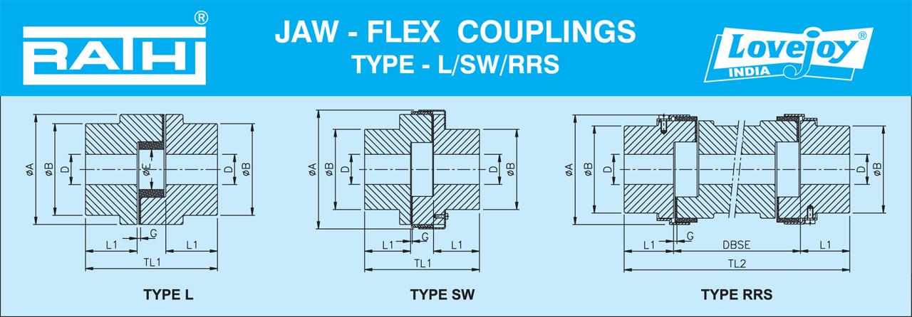 Bảng thông số kỹ thuật Jaw Flex Coupling Type L SW RRS