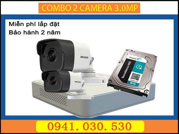 Trọn bộ camera quan sát: 2 camera thân 3.0MPX