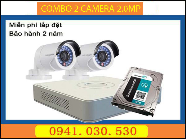Trọn bộ camera quan sát: 2 camera thân 2.0MPX