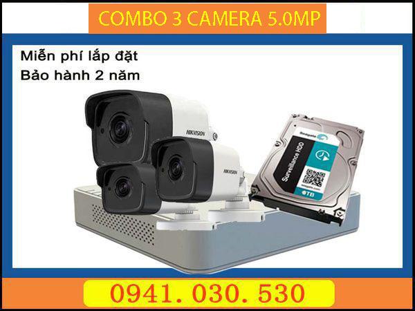Trọn bộ camera quan sát: 3 camera thân 5.0MP