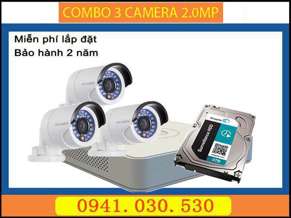 Trọn bộ camera quan sát: 3 camera thân 2.0MPX