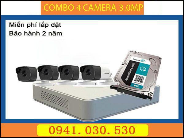 Trọn bộ camera quan sát: 4 camera thân 3.0MPX