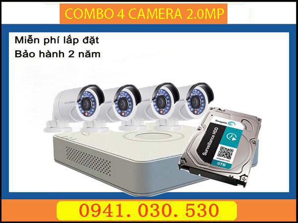 Trọn bộ camera quan sát: 4 camera thân 2.0MPX