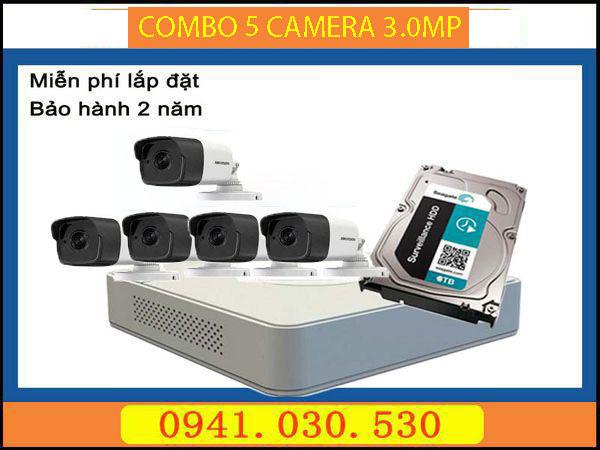 Trọn bộ camera quan sát: 5 camera thân 3.0MPX