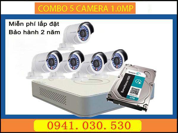Trọn bộ camera quan sát: 5 camera thân 1.0MPX