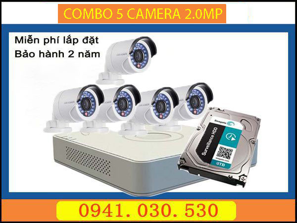 Trọn bộ camera quan sát: 5 camera thân 2.0MPX