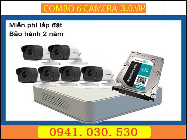 Trọn bộ camera quan sát: 6 camera thân 3.0MPX