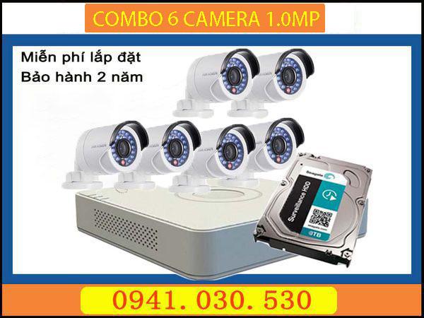 Trọn bộ camera quan sát: 6 camera thân 1.0MPX