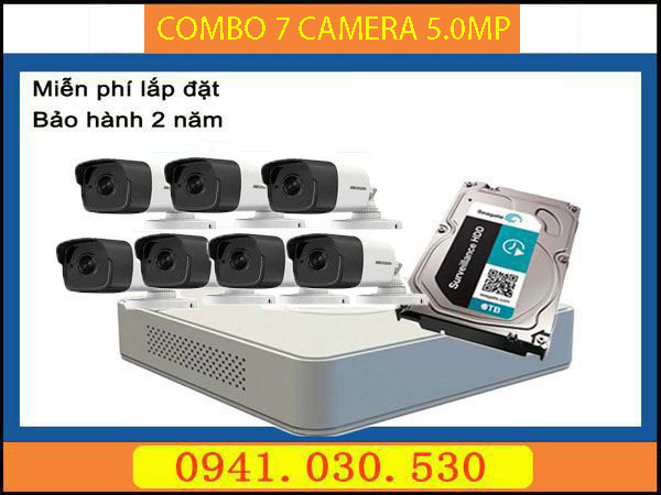 Trọn bộ camera quan sát: 7 camera thân 5.0MP