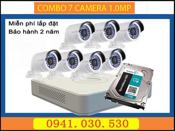 Trọn bộ camera quan sát: 7 camera thân 1.0MPX