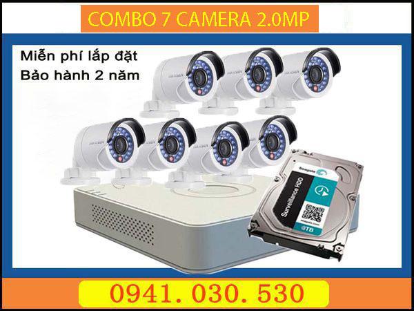 Trọn bộ camera quan sát: 7 camera thân 2.0MPX