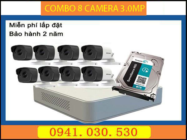 Trọn bộ camera quan sát: 8 camera thân 3.0MPX