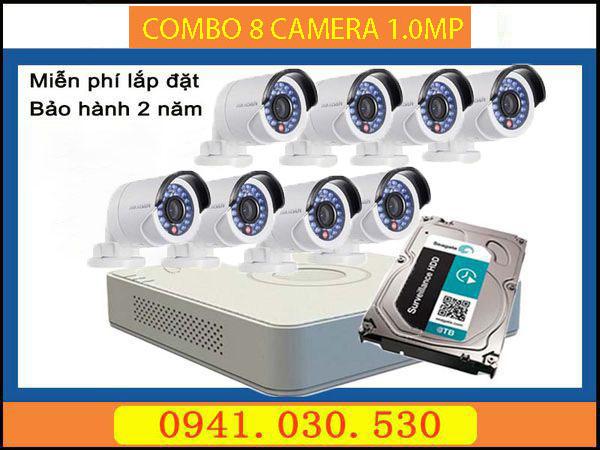 Trọn bộ camera quan sát: 8 camera thân 1.0MPX