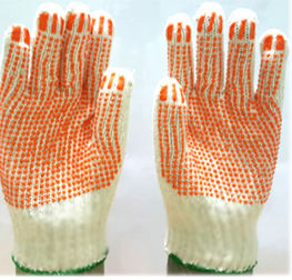 Găng tay bảo hộ len hạt nhựa đỏ