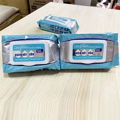 Khăn ướt cồn Let-green 50 miếng làm sạch, kháng khuẩn hiệu quả