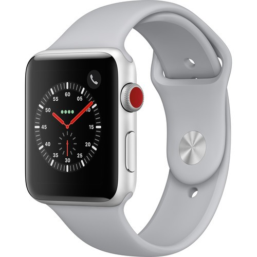 Apple Watch Series 3 GPS + Cellular 42mm, Silver Aluminum - Fog Sport Band