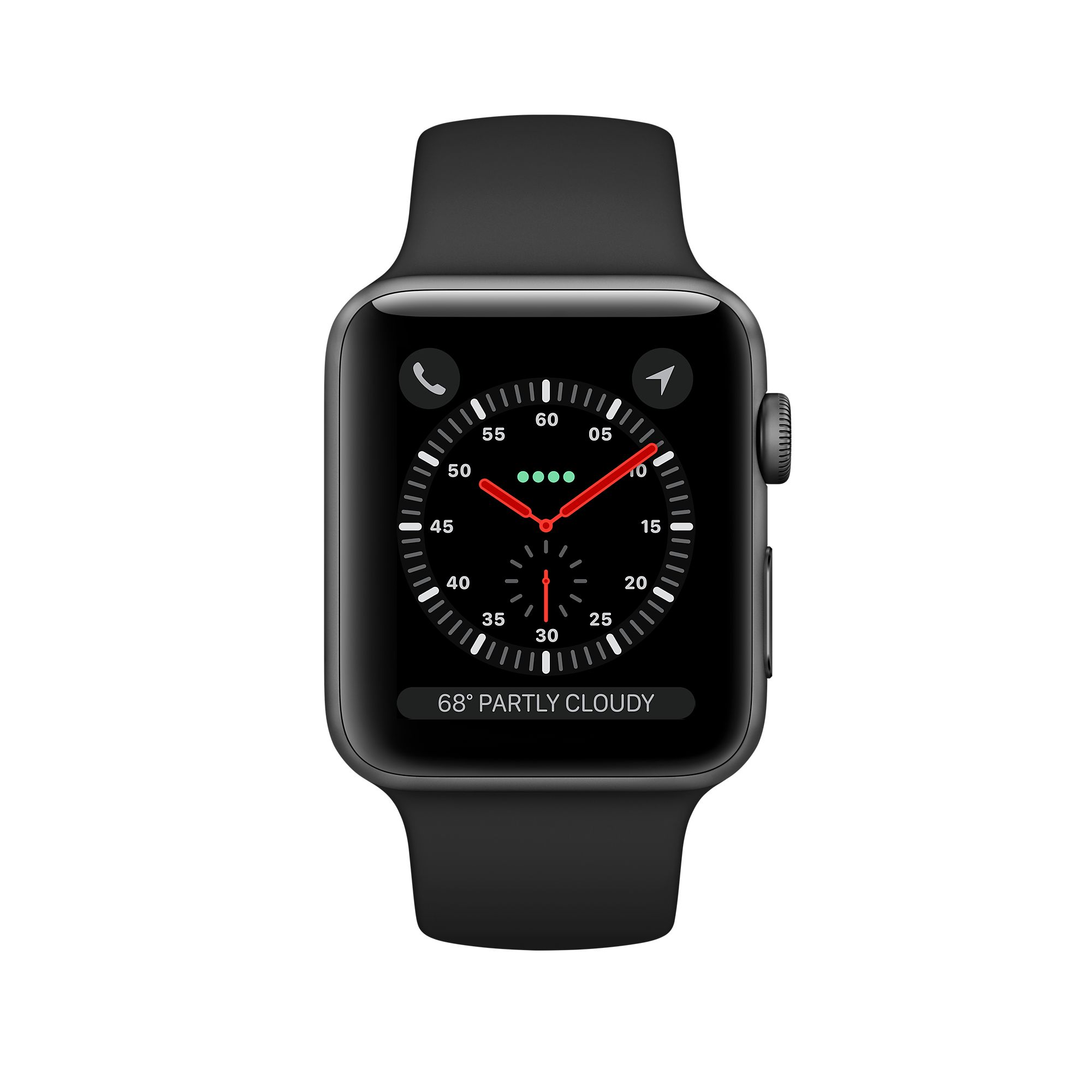 APPLE WATCH SERIES 3 GPS 38MM, SPACE GRAY ALUMINUM - GRAY SPORT BAND