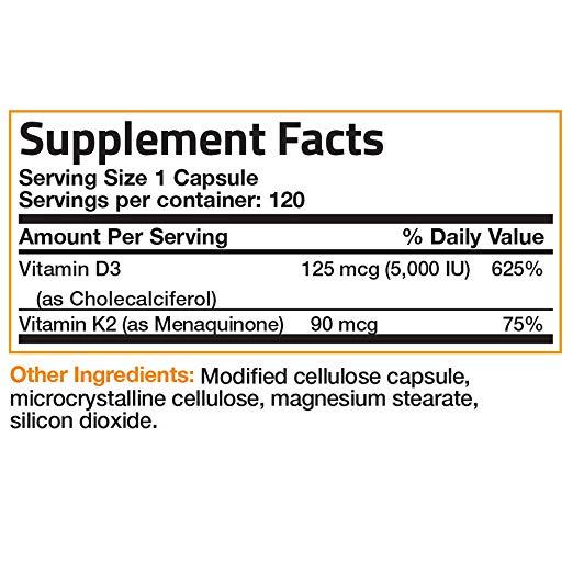 Bronson Vitamin K2 D3, 120 Capsules