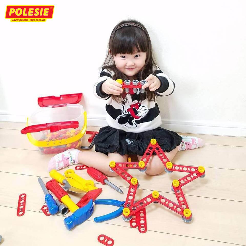 bé gái cùng bộ đồ chơi dụng cụ kỹ thuật 53718 polesie
