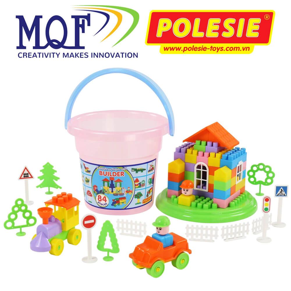 đồ chơi lắp ráp xây dựng kèm xô Maxi 84 chi tiết Polesie Toys