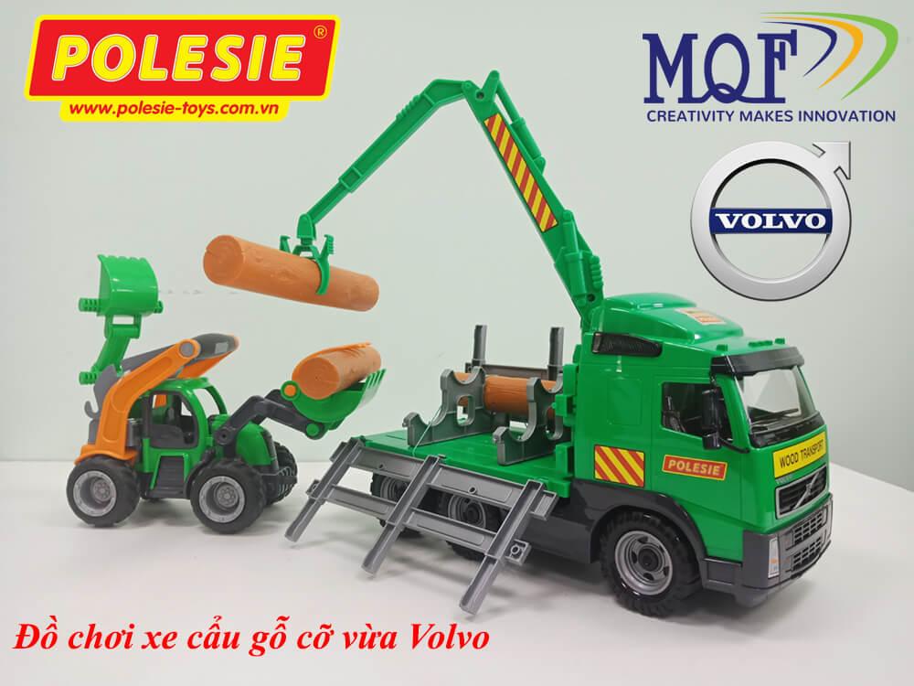xe mô hình đồ chơi dành cho trẻ em xe tải cẩu gỗ volvo powertruck