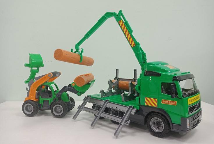 xe đồ chơi chở gỗ Volvo cho trẻ em