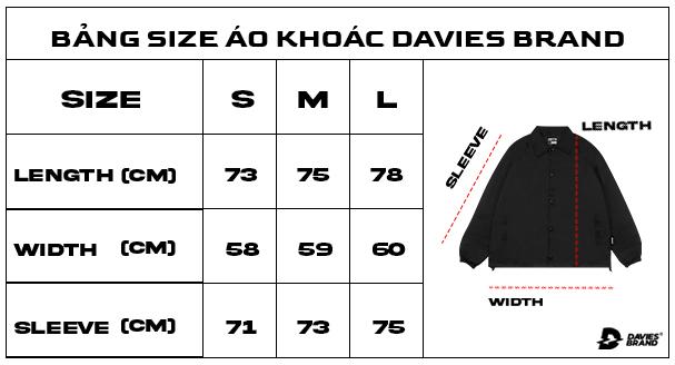 bảng size áo khoác local brand Davies