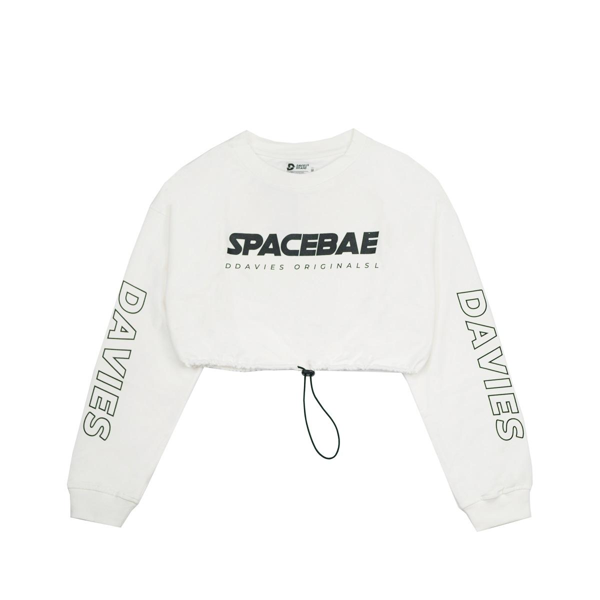 DSS Croptop LS Space Bae-WHITE
