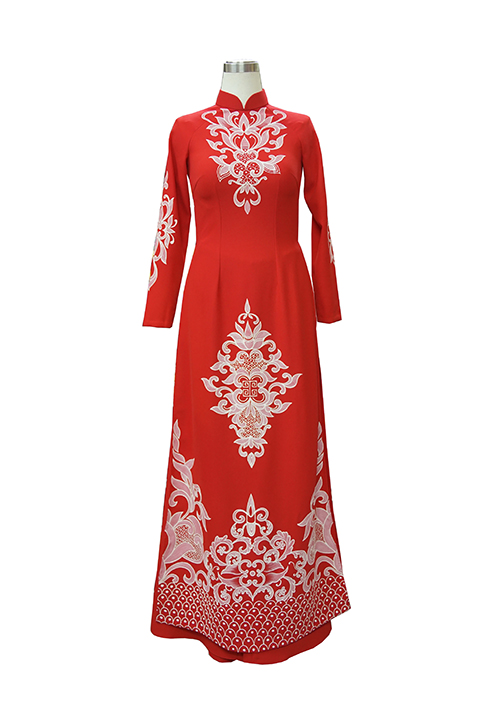Áo dài nam đỏ vẽ tay, áo dài cưới hỏi, áo dài đôi