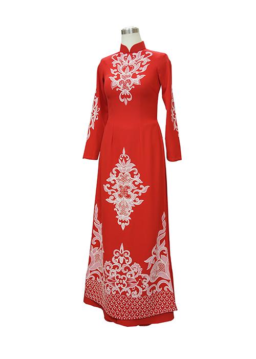 Áo dài đỏ vẽ tay, áo dài cưới hỏi