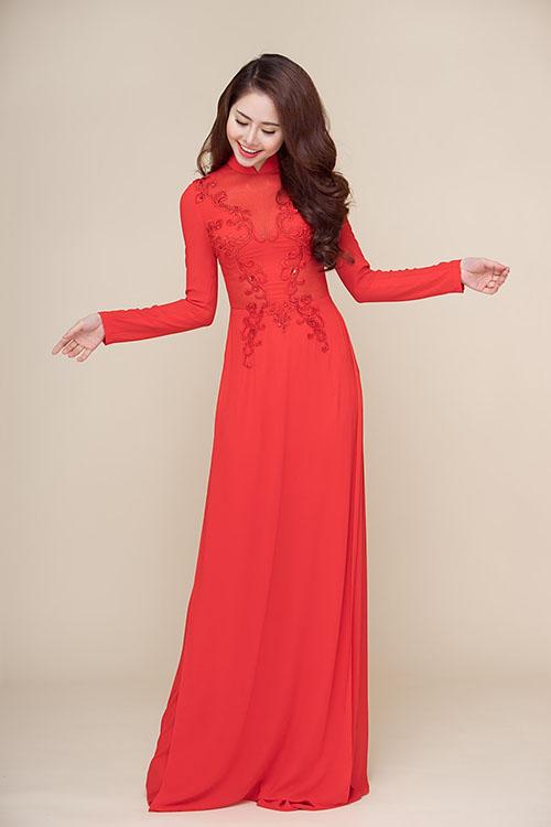 Áo dài cô dâu màu đỏ đẹp tại Hà Nội
