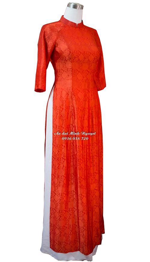 Áo dài lụa tơ tằm_màu đỏ 01
