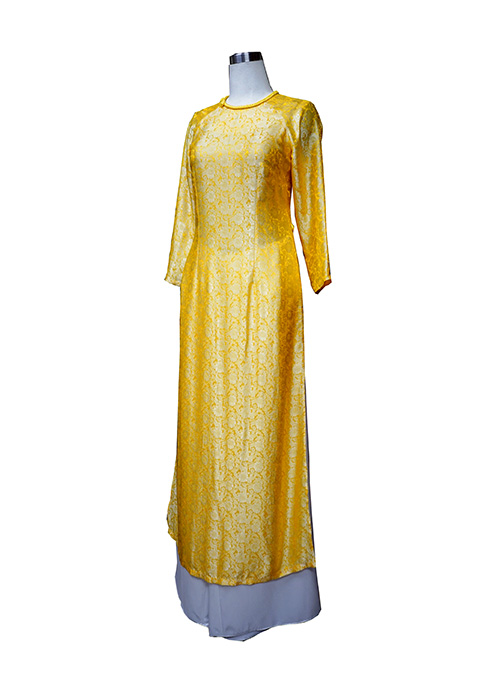 Áo dài lụa tơ tằm vân hoa cúc vàng