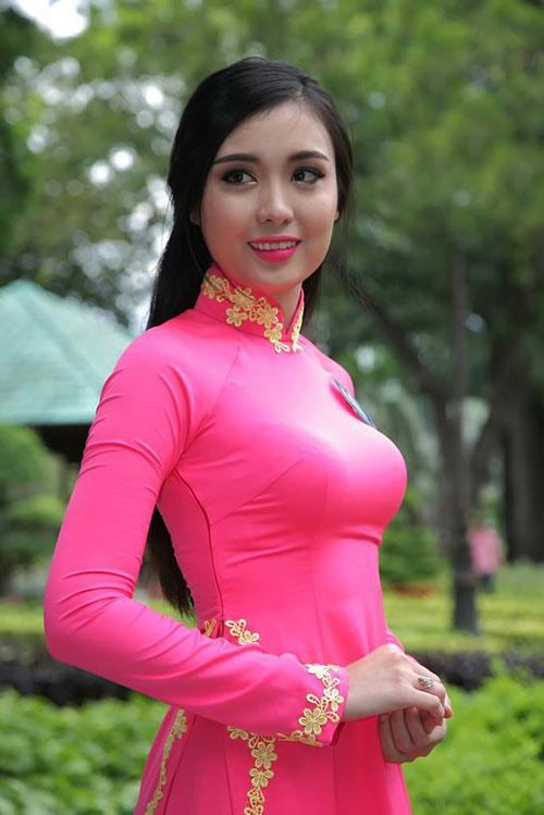 Áo dài hồng cánh sen 1