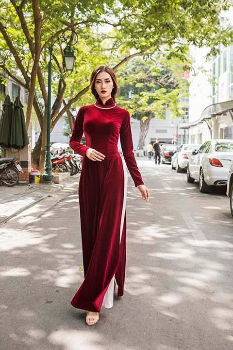Áo dài nhung đỏ_N2