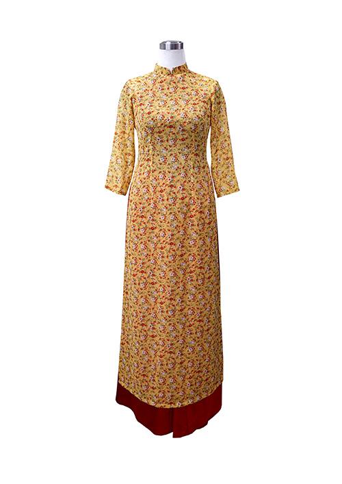 Áo dài voan hoa nhí vàng