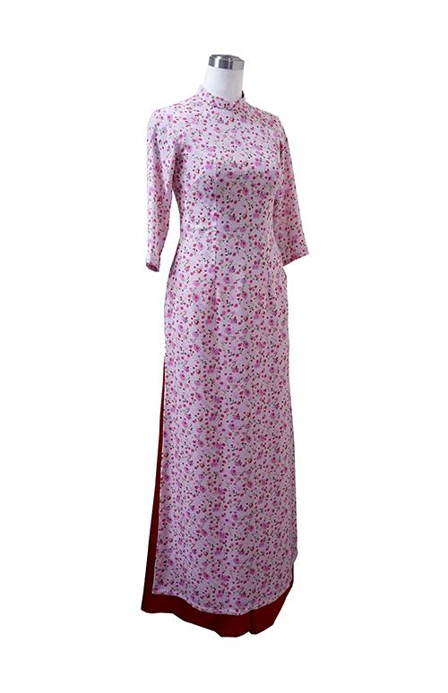 Áo dài voan hoa nhí hồng