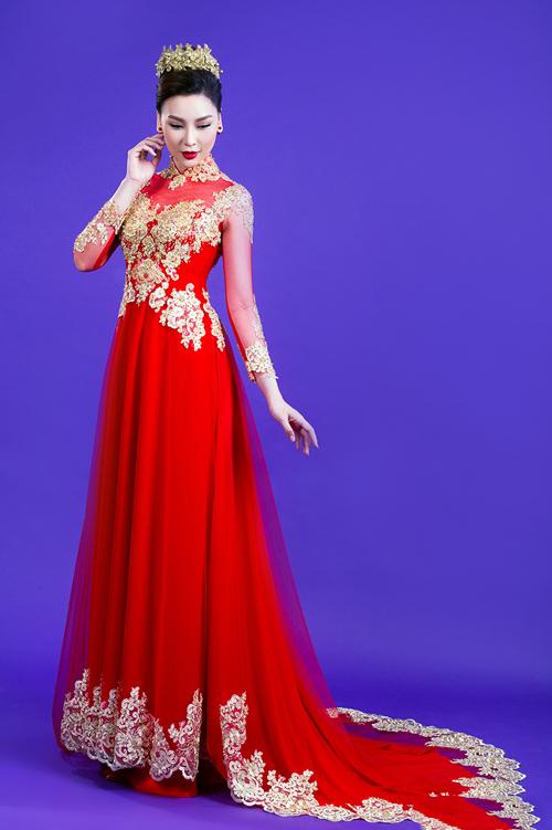 Áo dài cưới đỏ cho cô dâu