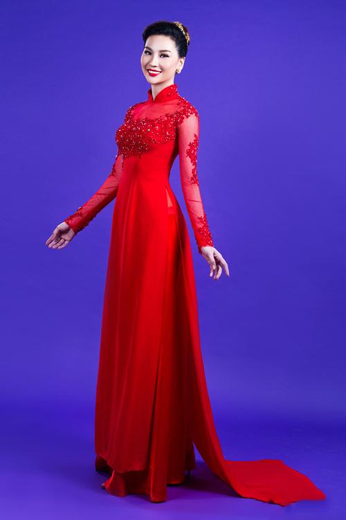 Áo dài cưới đỏ đính kim sa cùng màu cho cô dâu