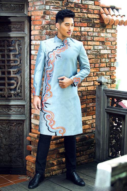 Áo dài cách tân nam xanh nhạt