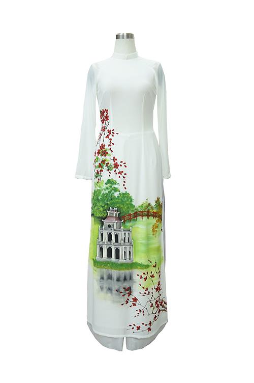Áo dài trắng vẽ tay tháp rùa Hồ Gươm