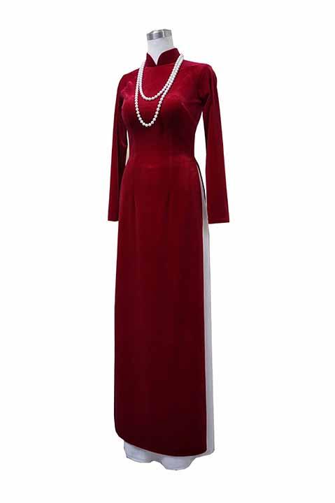Áo dài nhung đỏ