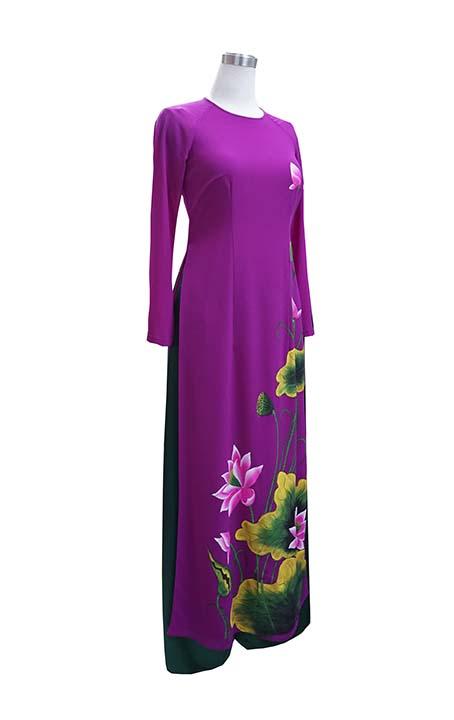 Áo dài vẽ hoa sen_mã số 1