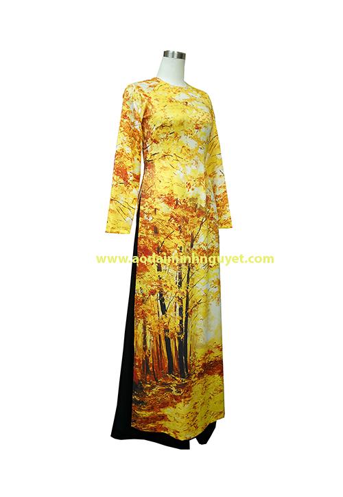 Áo dài in mùa thu vàng