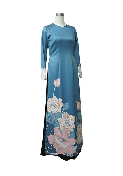 Áo dài in 3D màu xanh & hoa sen