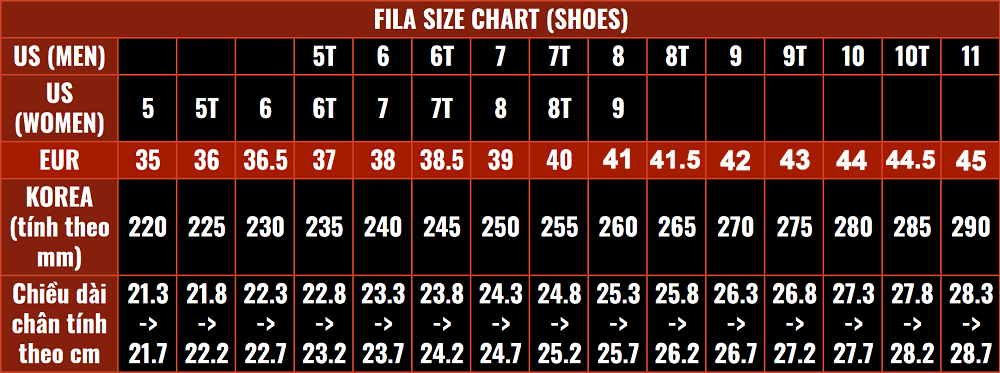 size giày FILA chính hãng Authentic