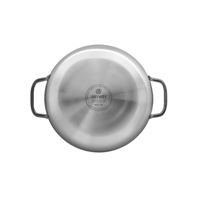 Chảo lẩu Inox 304 cao cấp 3 lớp đáy liền 30cm Elmich Tri-Max EL-3798 vung kính - Hàng chính hãng, bảo hành 12 tháng