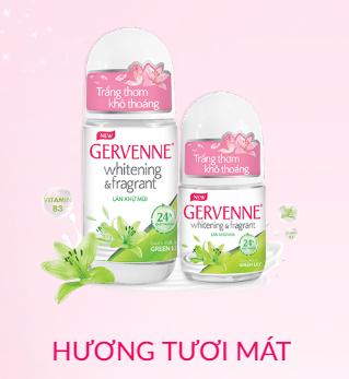 Lăn khử mùi Gervenne trắng da hương nước hoa Lily xanh 50ml