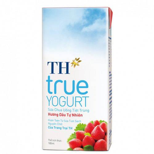 Thùng sữa chua TH True Milk hương dâu 180ml