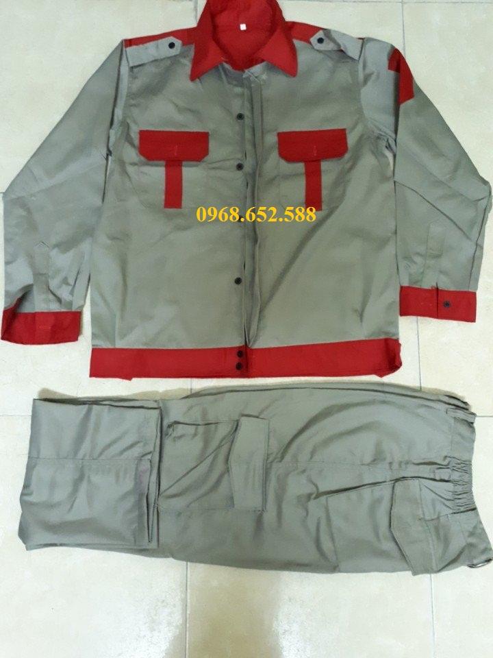 Quần áo bảo hộ lao động| Quần áo bảo hộ lao động ghi phối đỏ
